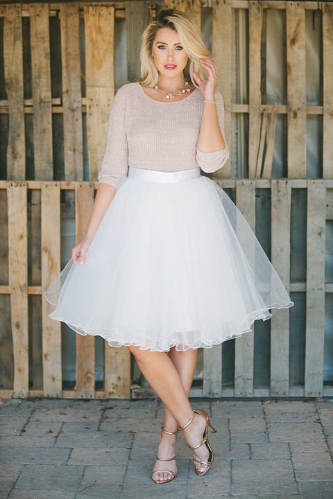 Allure Tulle Skirt - White
