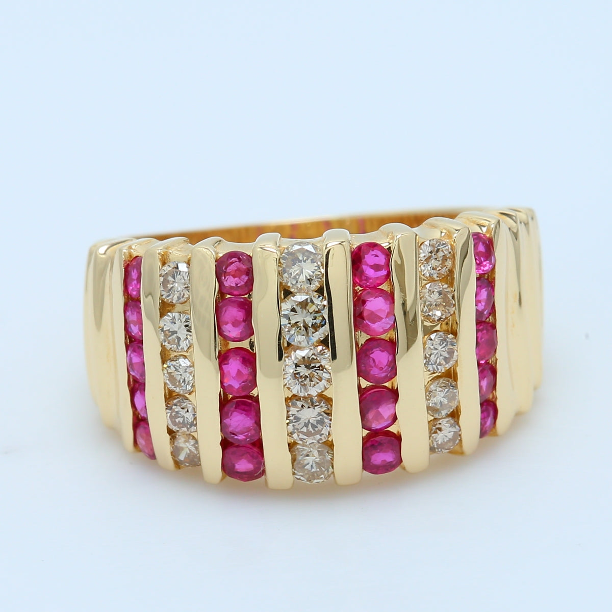 Stunning Ruby and Diamond Band in 14k Yellow Gold