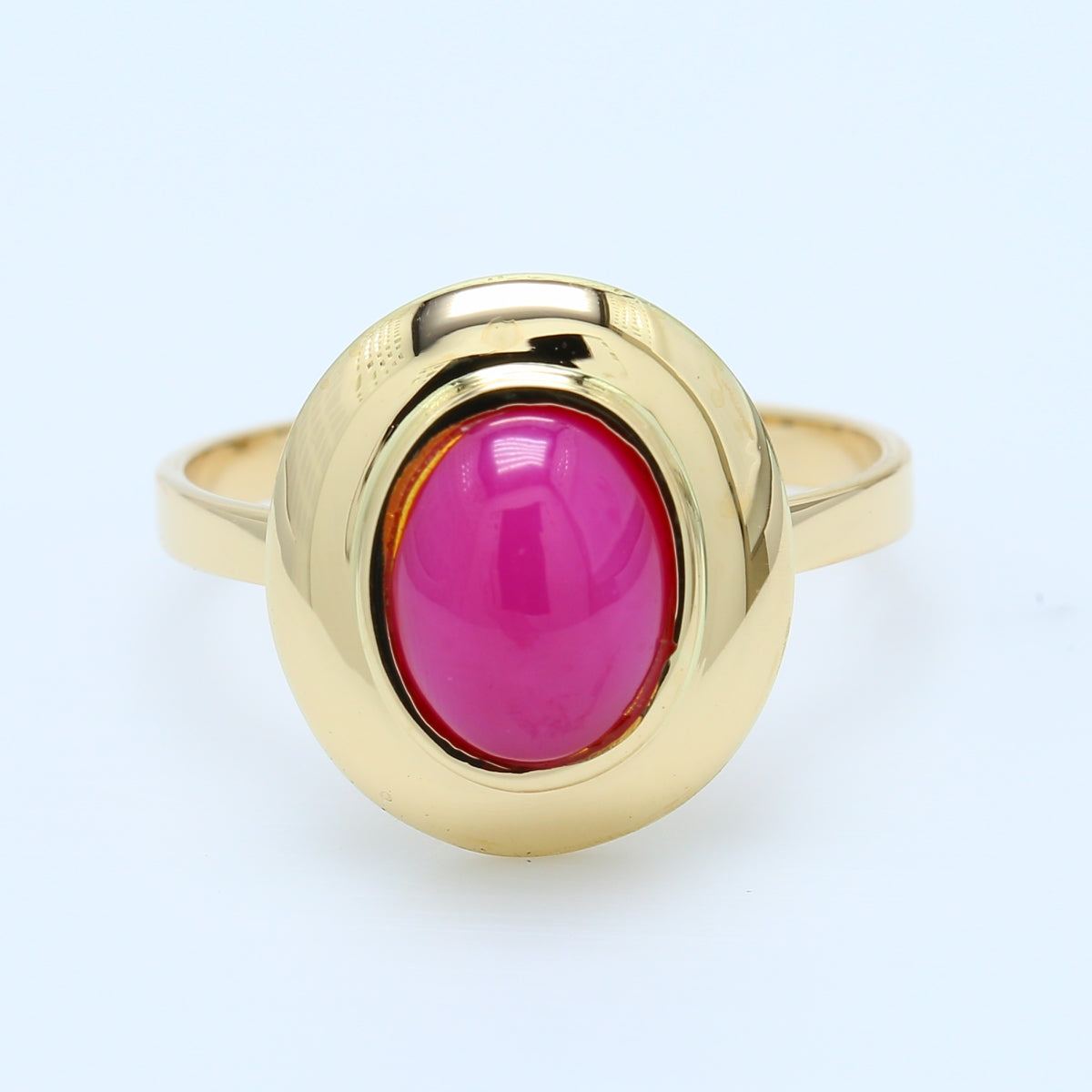 Oval Star Ruby Ring Bezel Set in 14k Yellow Gold Ring