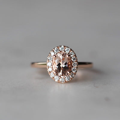 SARAH / OVAL MORGANITE HALO RING