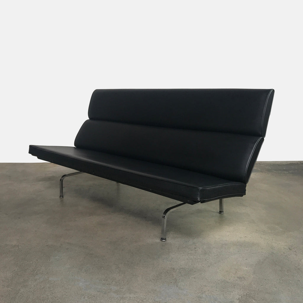 Herman Miller Black Leather Compact Sofa by Charles and Ray Eames