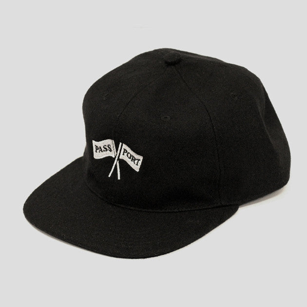 Pass~Port Cross Flags Wool 6 Panel Hat - Black