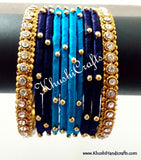 Hand-crafted exquisite Silk Thread Bangles in Shades Of Blue