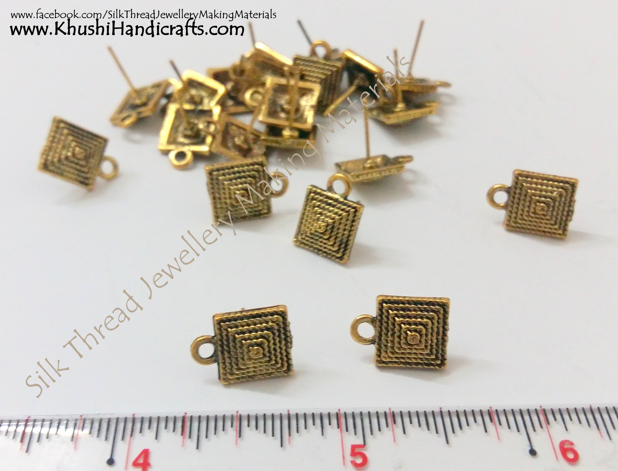 Antique Gold Square Studs - Khushi Handmade Jewellery