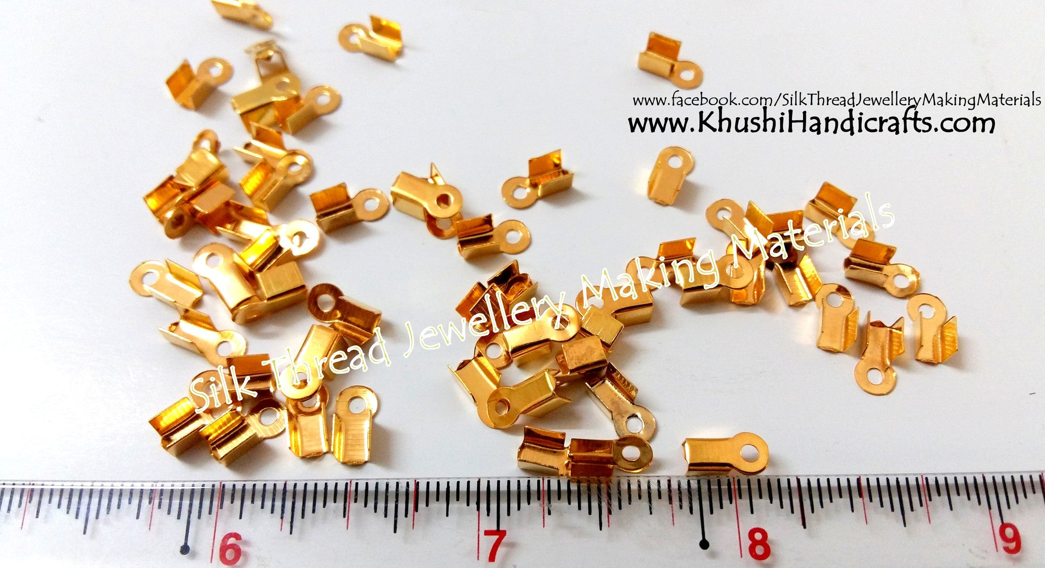 Cord End Crimp Clasps Gold - Khushi Handmade Jewellery