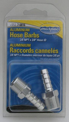 "Aluminium 3/8"" NPT tapered male thread straight connectors with barb for 3/8"" / 9mm ID hose (P/N: 7-6816)"