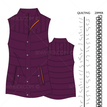 {Illustrator Stuff} Sew Heidi Women's Quilted Down Vest