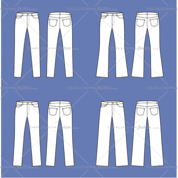 Women's Jean Pants Fashion Flat Templates