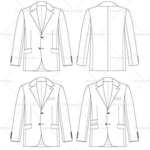 Men's Traditional Fit Jacket Fashion Flat Template