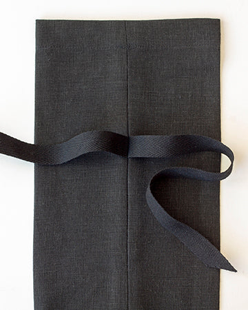 Linen Gift Bag in Black - Set of 3