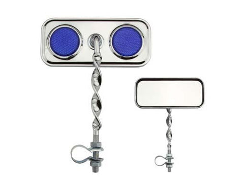 Picture of Rectangle Flat Twisted Mirror Blue Reflectors.