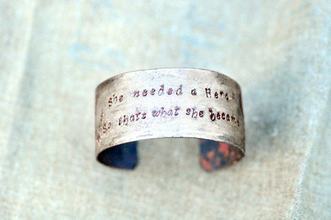 Handcrafted 'Heroine' Quote Cuff