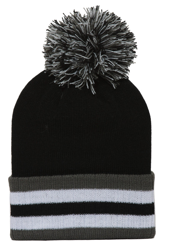 Topheadwear Winter Cuffed Beanie w/ Pom - Black
