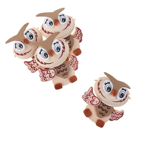 3D Owl Craft Foam Cutouts, Brown, 3-Inch, 10-Count
