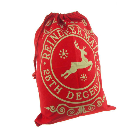 Christmas Delivered by Reindeer Santa Sack, Red, 27-Inch x 19-Inch