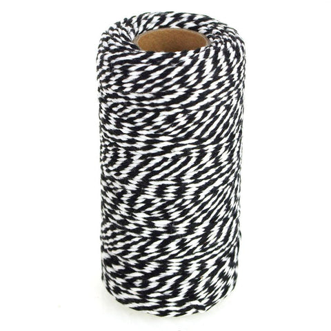 Cotton Bakers Twine Ribbon, 10 Ply, 100 Yards, Black