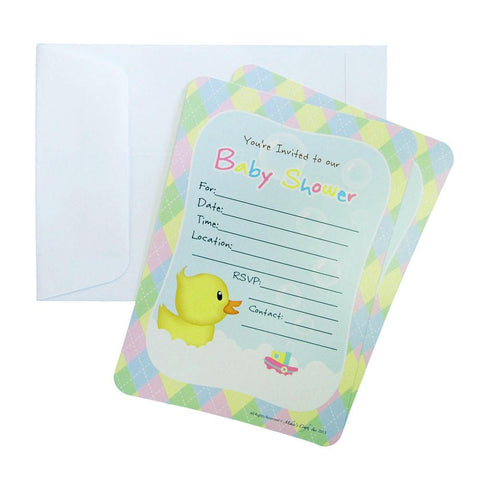 Baby Shower Invitation Envelope, Baby Duck, 7-Inch, 12-Piece