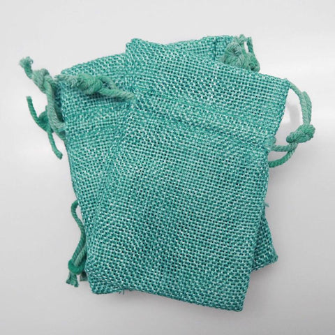 Faux Burlap Pouch Bags, 3-inch x 4-inch, 6-Piece, Turquoise