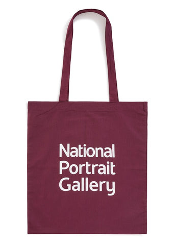 Burgandy National Portrait Gallery Logo Tote Bag