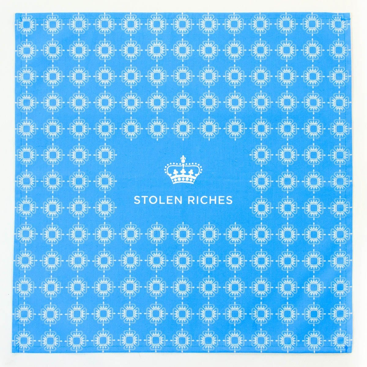 "Dickie Blue - Crown Pattern Pocket Square (13""x13"") - Stolen Riches"