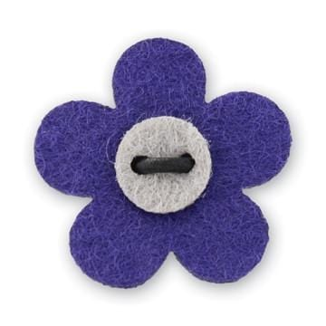 Flower Lapel Pin - Buster Purple with Isolar Silver - Stolen Riches