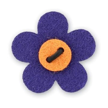 Flower Lapel Pin - Buster Purple with Tiqui Orange - Stolen Riches