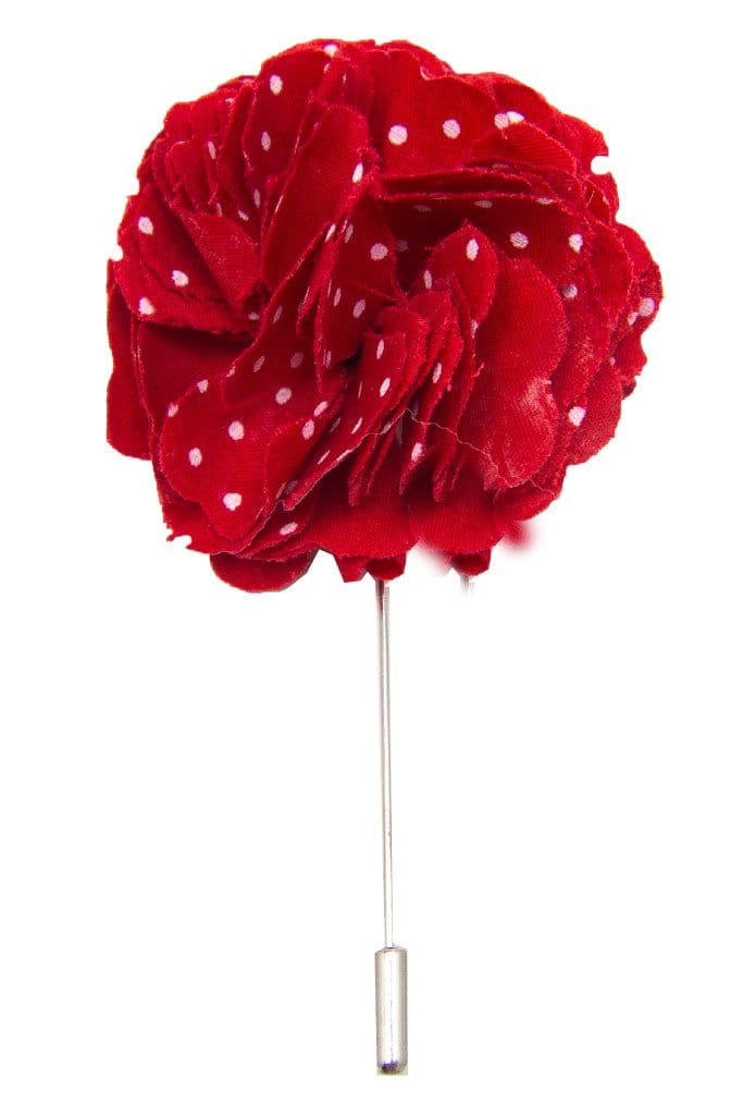 Cotton Lapel Pin - Portsalon Red with White Polka Dot - Stolen Riches