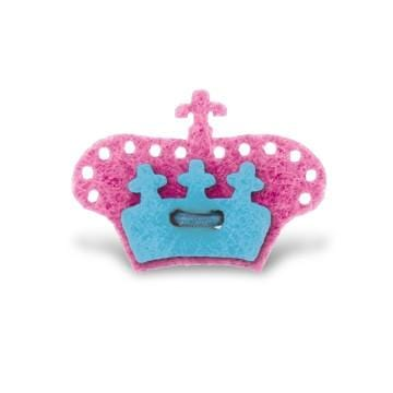 Crown Lapel Pin - Poona Pink with Bishop Blue - Stolen Riches