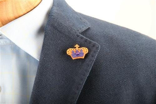 Crown Lapel Pin - Tiqui Orange with Buster Purple - Stolen Riches