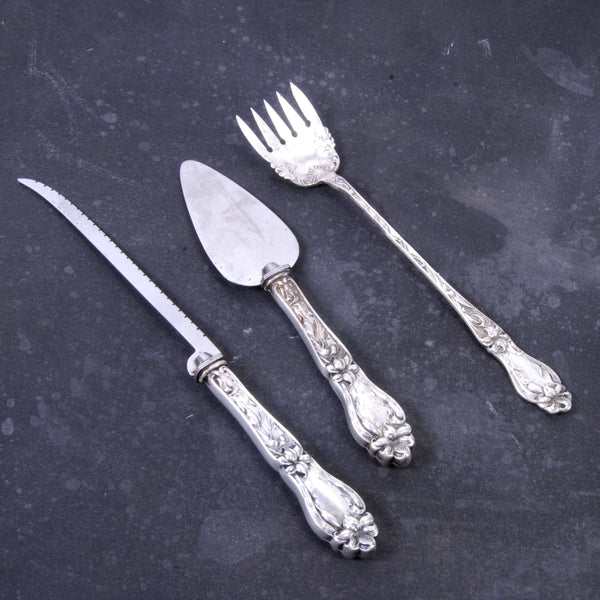 3 Serving Pieces Sterling Handles