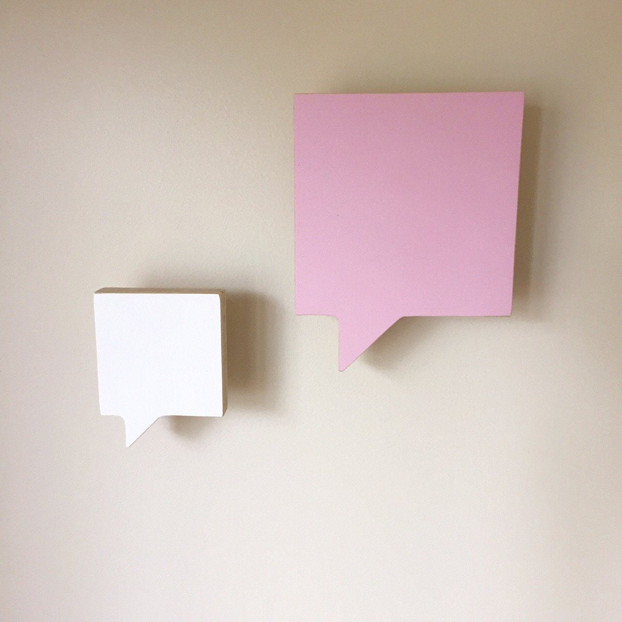 Speech Bubble Square Wall Hook - Pink & White (Set of 2) - Wiggles Piggles  - 1