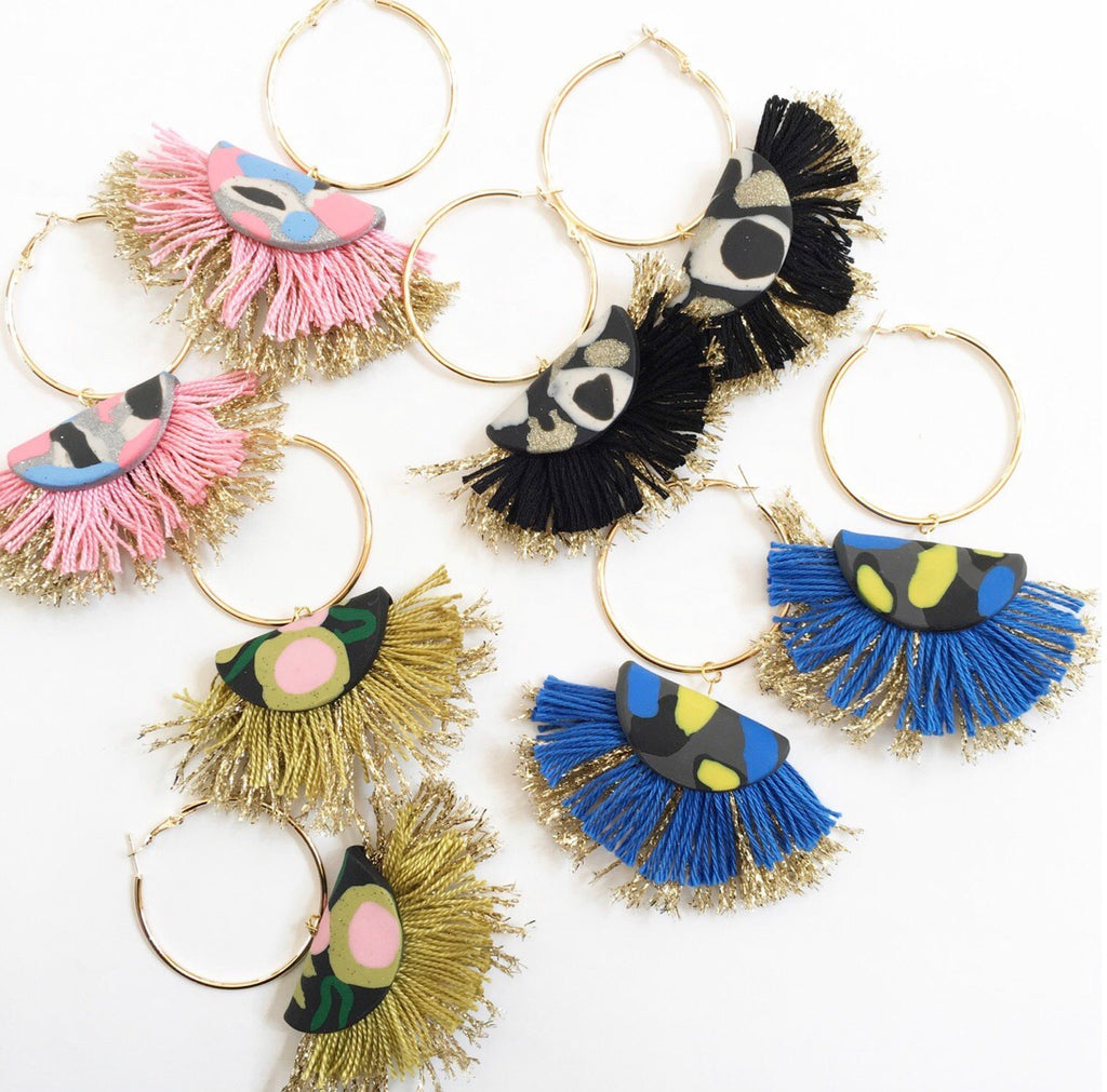 Handmade Layered Fringe Earrings - BLUE