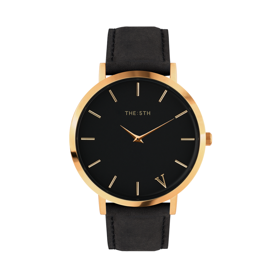rose gold and black unisex watch the5th