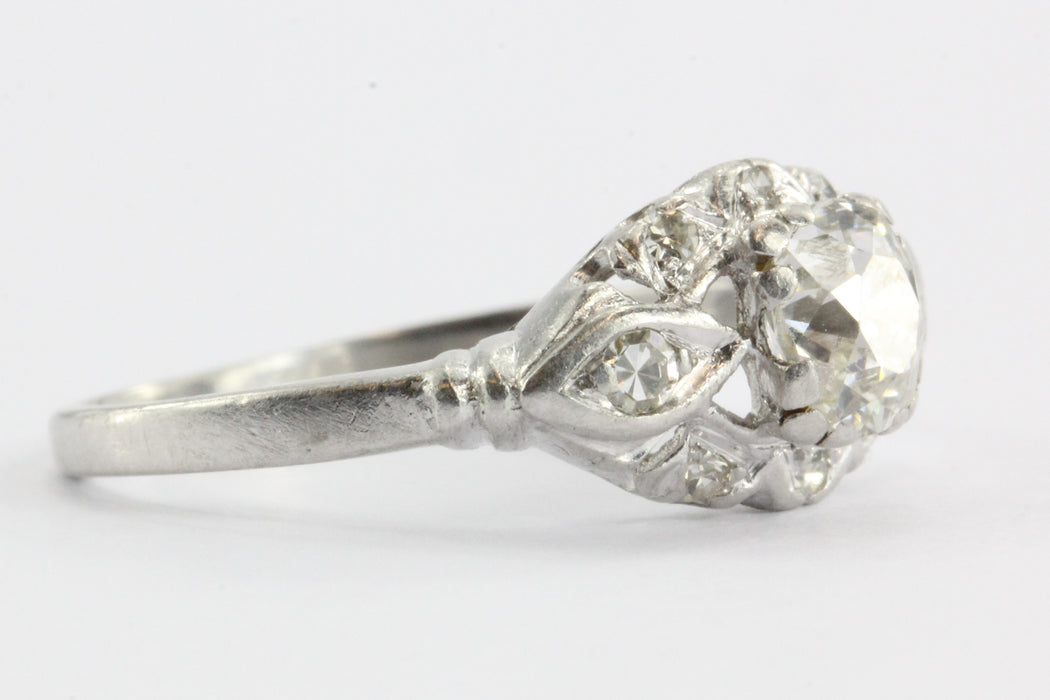 Art Deco Platinum 1 CTW Old Mine Cut Diamond Engagement Ring - Queen May