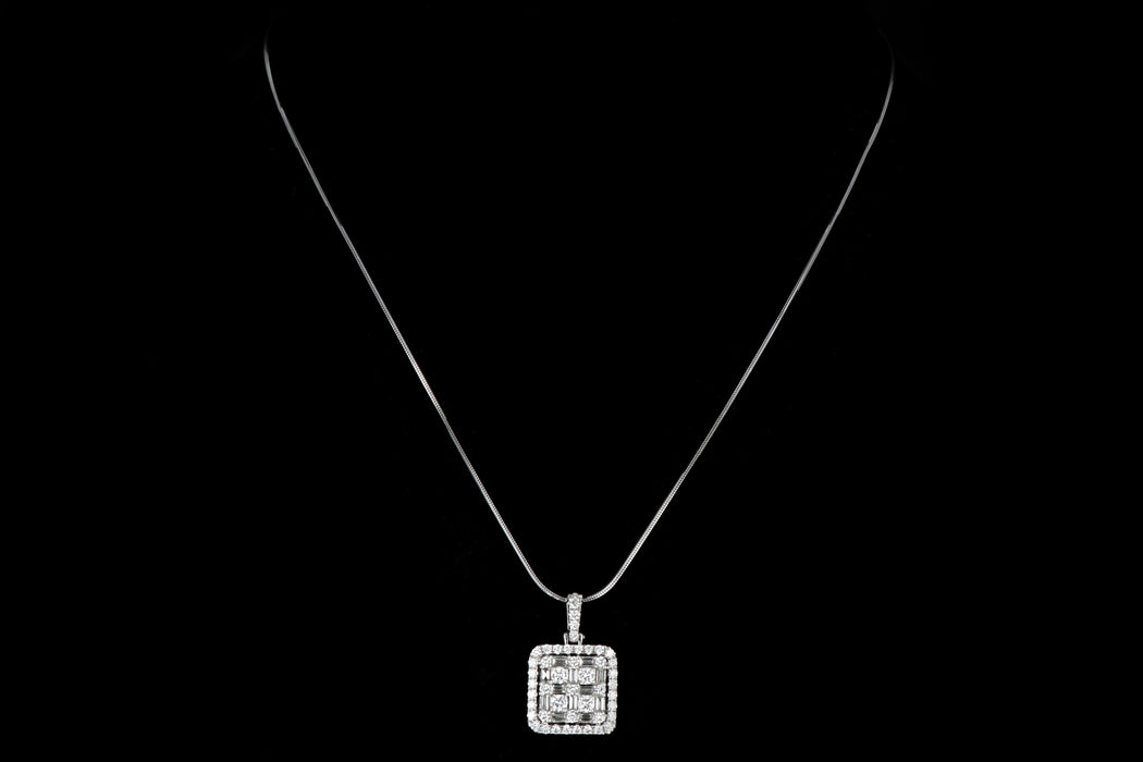 Modern 14K White Gold 1.75 Carat Diamond Pendant Necklace - Queen May