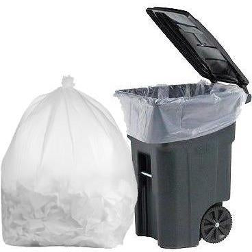 64 Gallon Garbage Bags: Clear, 1.5 Mil, 50x60, 30 Bags/Case.