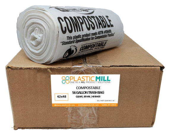 56 Gallon Garbage Bags, Compostable: Clear, 0.85 MIL, 42x48, 40 Bags.