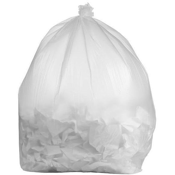 64 Gallon Contractor Bags: Clear, 3 Mil, 50x60, 30 Bags/Case.