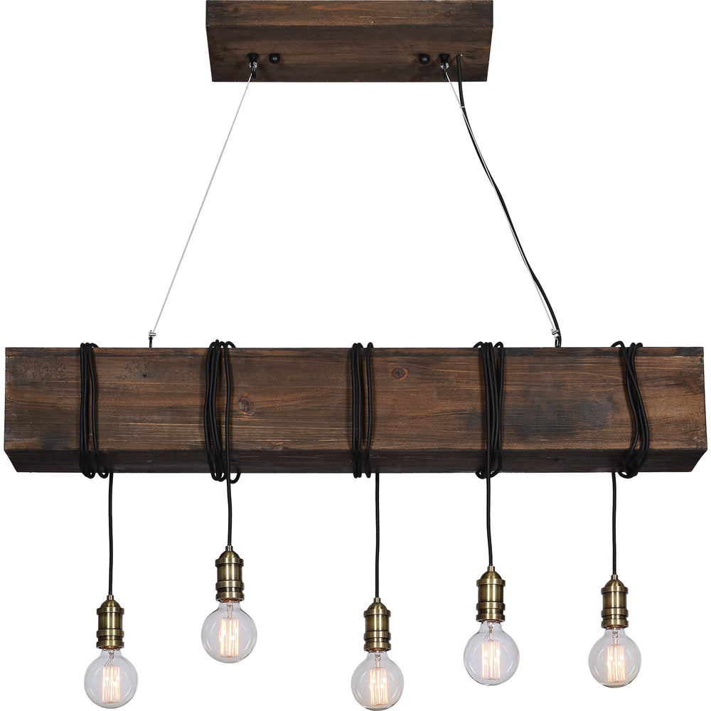 Beam Chandelier with Edison Bulbs