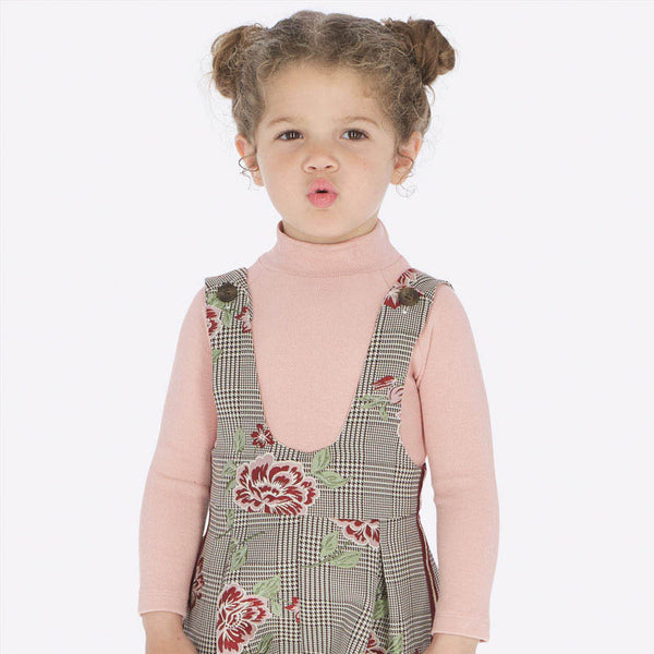 AW19 Mayoral Girls Dogtooth & Embroidered Flower Dungaree Set 136 & 4601