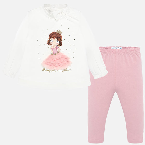 AW19 Mayoral Toddler Girls Pink Princess Leggings Set 2743
