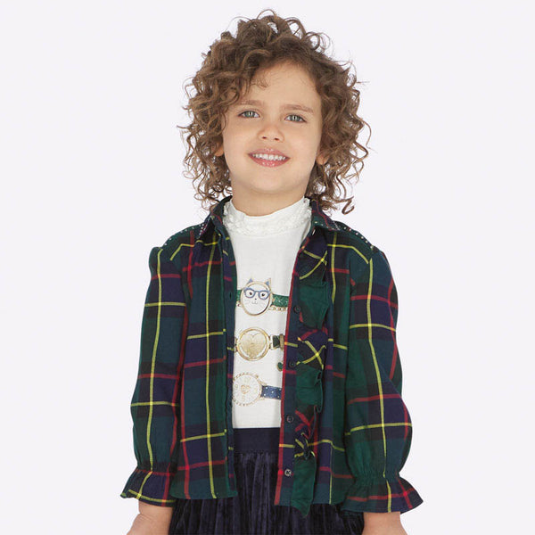 AW19 Mayoral Girls Green Tartan Blouse 4106
