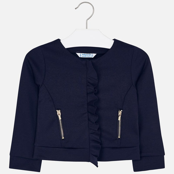 AW19 Mayoral Girls Navy Ruffle Cardigan 4425
