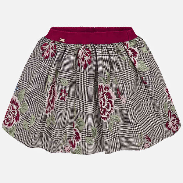 AW19 Mayoral Girls Dogtooth & Embroidered Flower Skirt 4908