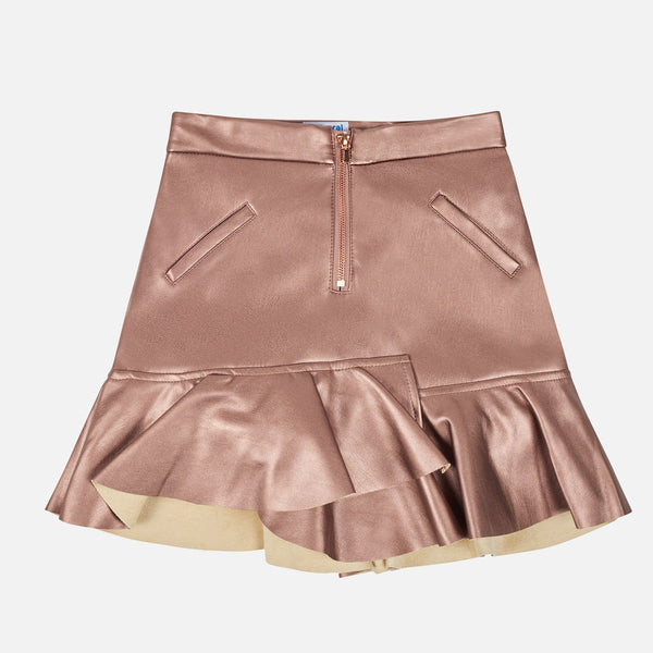 AW19 Mayoral Older Girls Rose Gold Ruffle Hem Skirt 7906