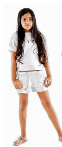 SS16 Fun & Fun White & Silver Top And Shorts Set