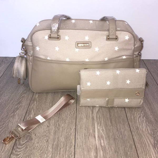 Mayoral Baby Changing Bag & Changing Mat Set - Camel & White Stars 19863 & 19824