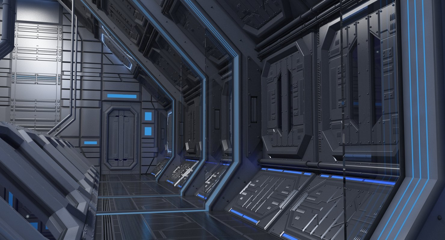 Sci Fi Interior 4 3D model - WireCASE