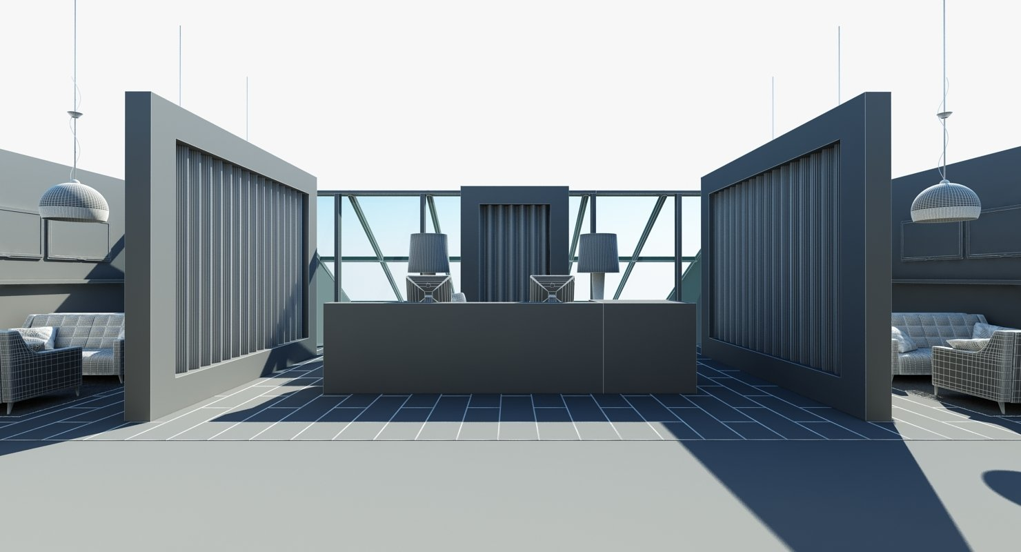 Full Office Interior 13 3D Model - WireCASE