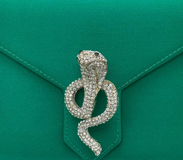 Silver and Crystal Cobra Brooch